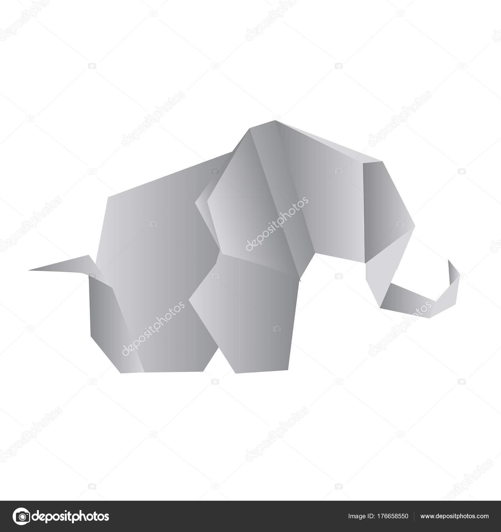Origami elephant isolated on white photo realistic vector illust origami elephant isolated on white photo realistic vector illust stock vector jeuxipadfo Choice Image