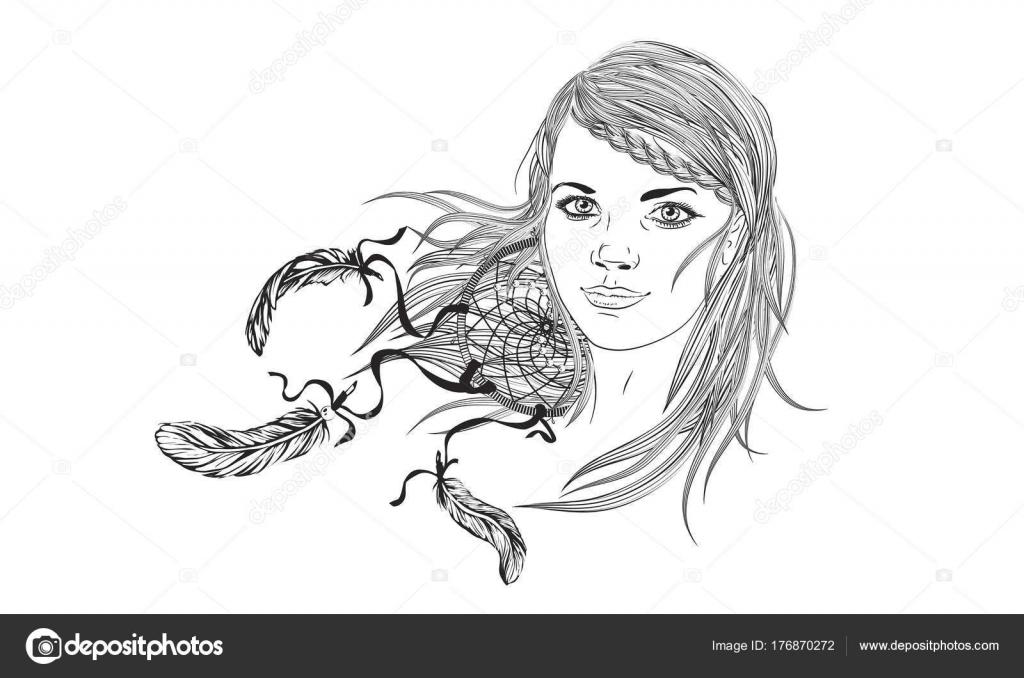 Chica de moda hermosa con cabello abstracto. Libro de colorear para ...