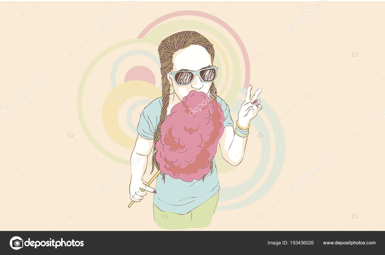 Adolescente comiendo algodón de azúcar — Archivo Imágenes ...