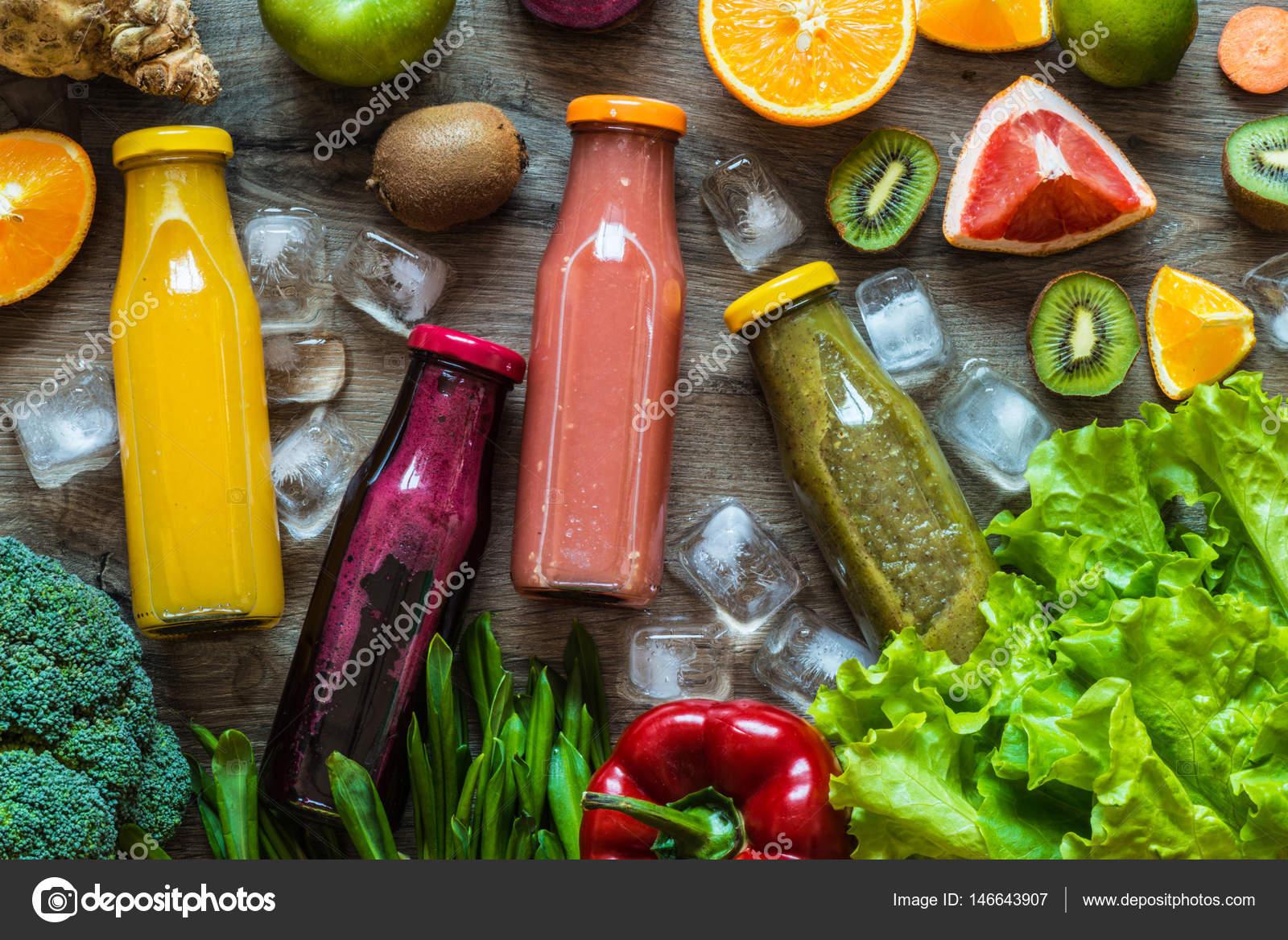 Detox Diat Gesunde Ernahrung Verschiedene Bunte Frische Safte