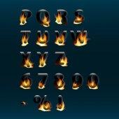 Horká písmena a čísla na ohni. Alphabet.Fire hořící vektorové písmo. Část 2