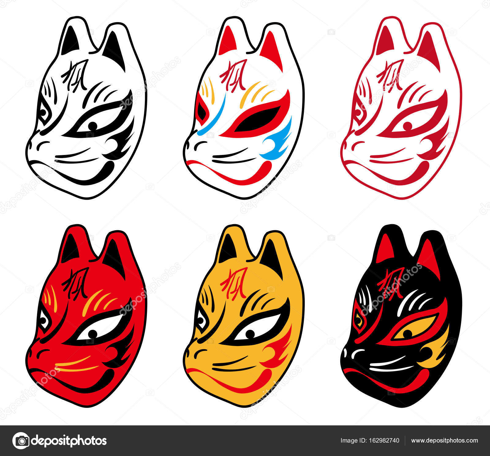 Japanese Fox Mask Six Type Stock Vector C Kayocci 162982740