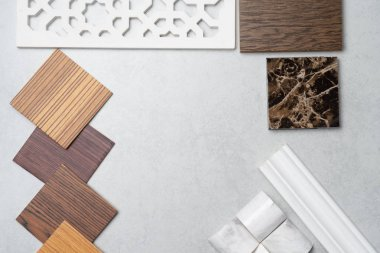 samples of material, wood , on concrete table.Interior design se