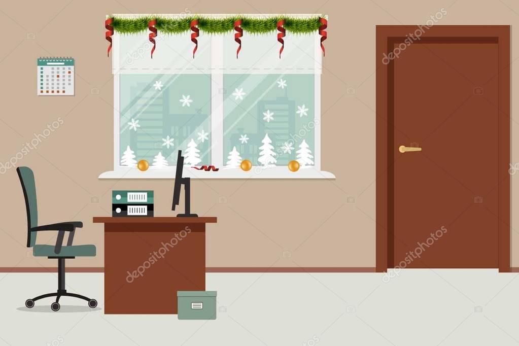 Decorazioni Ufficio Natale : Ufficio camera decorata con decorazione di natale u vettoriali
