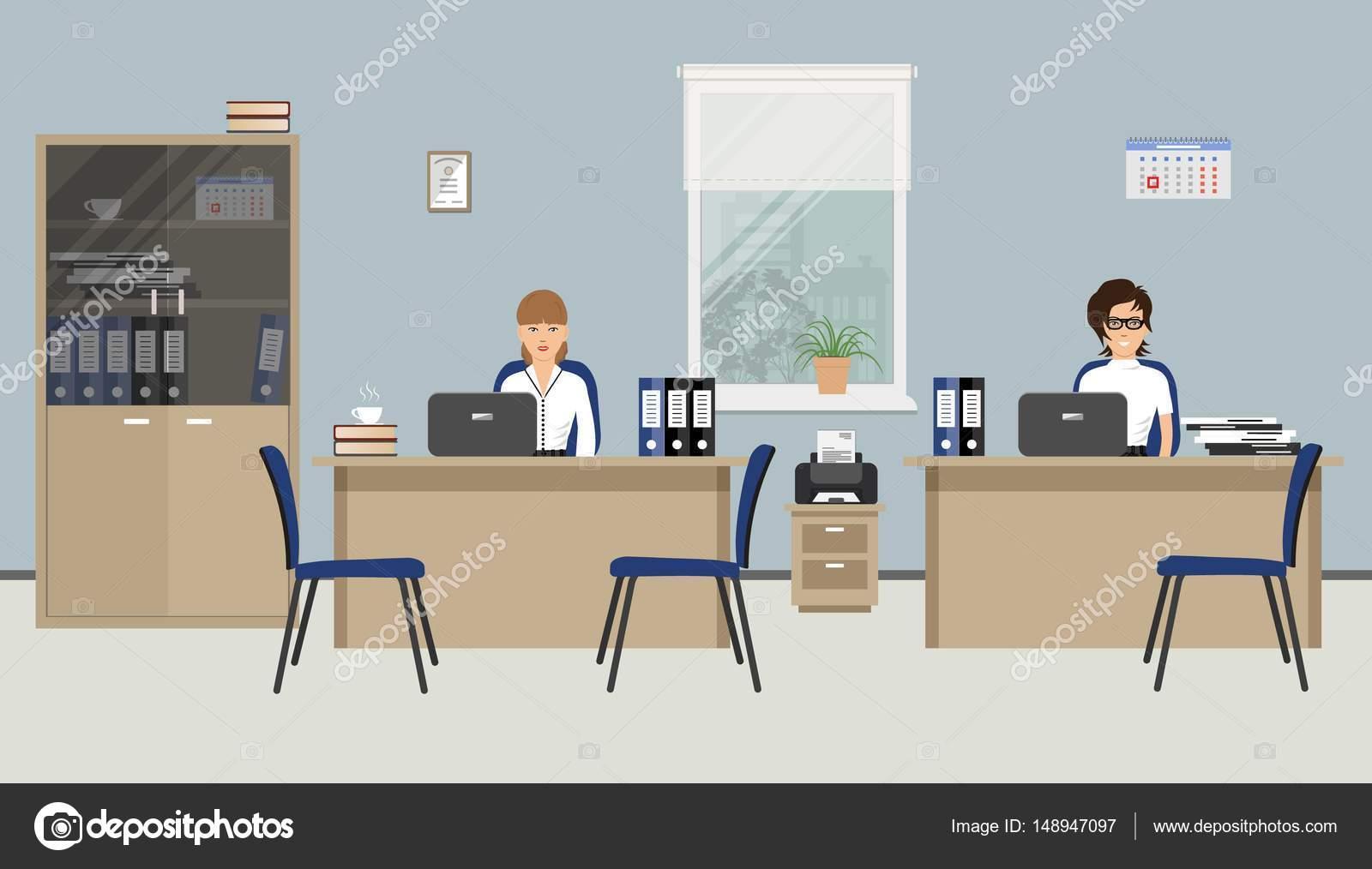 Bannière web de deux employés de bureau deux jeunes femmes sont