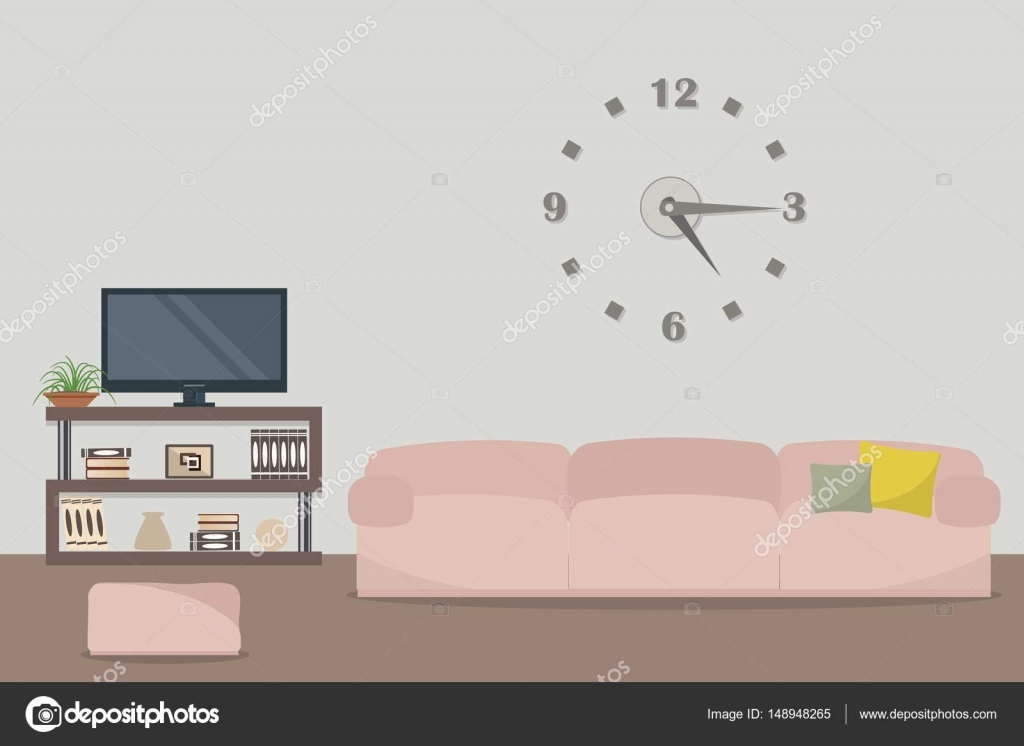 Living room with a pink sofa and a home cinema — Stock Vector ...