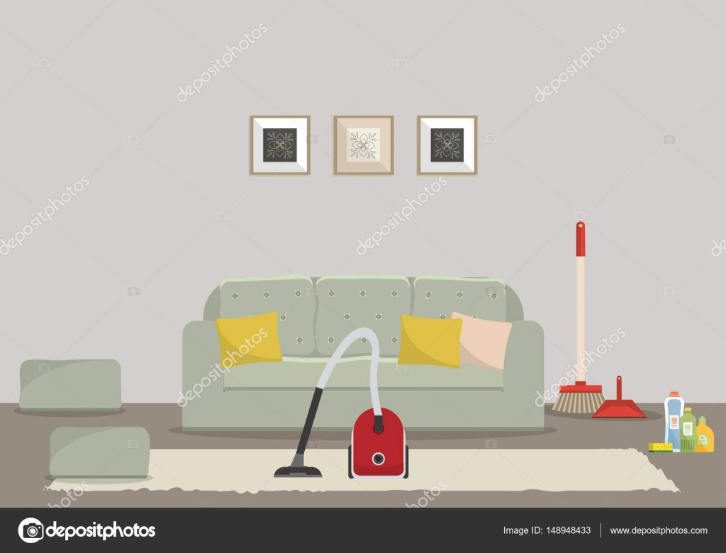 Cleaning in a living room. There is a vacuum cleaner, a sofa with a ...