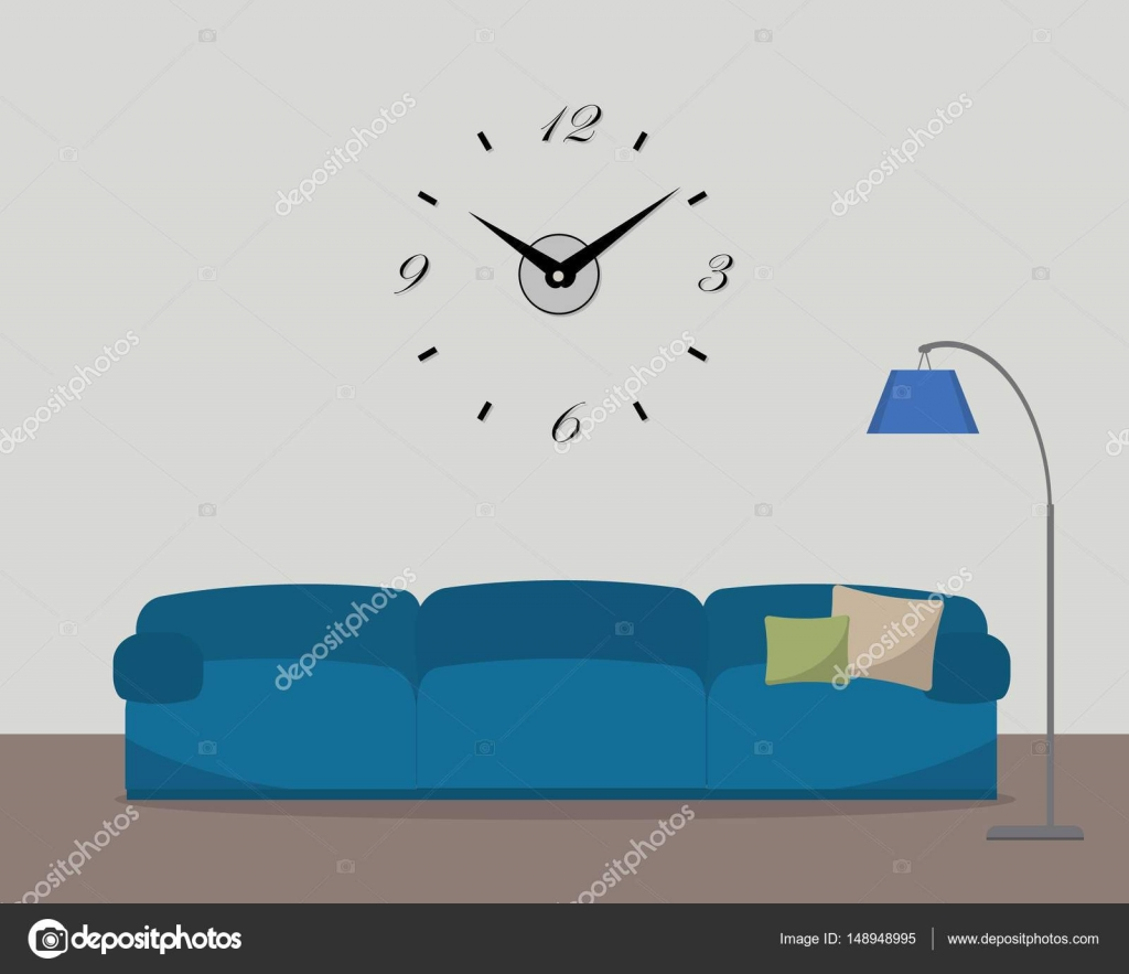 Living room with blue sofa and big clock on the wall — Stock Vector ...