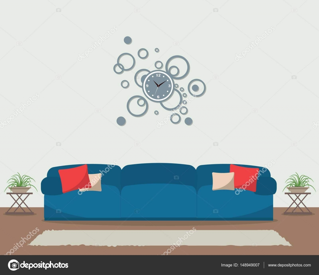 Living room with blue sofa and big round clock on the wall — Stock ...