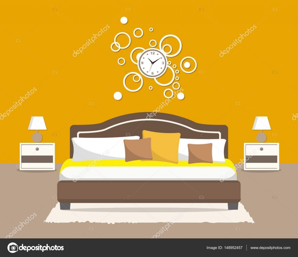 Bedroom in an orange color. There is a bed with pillows, bedside ...