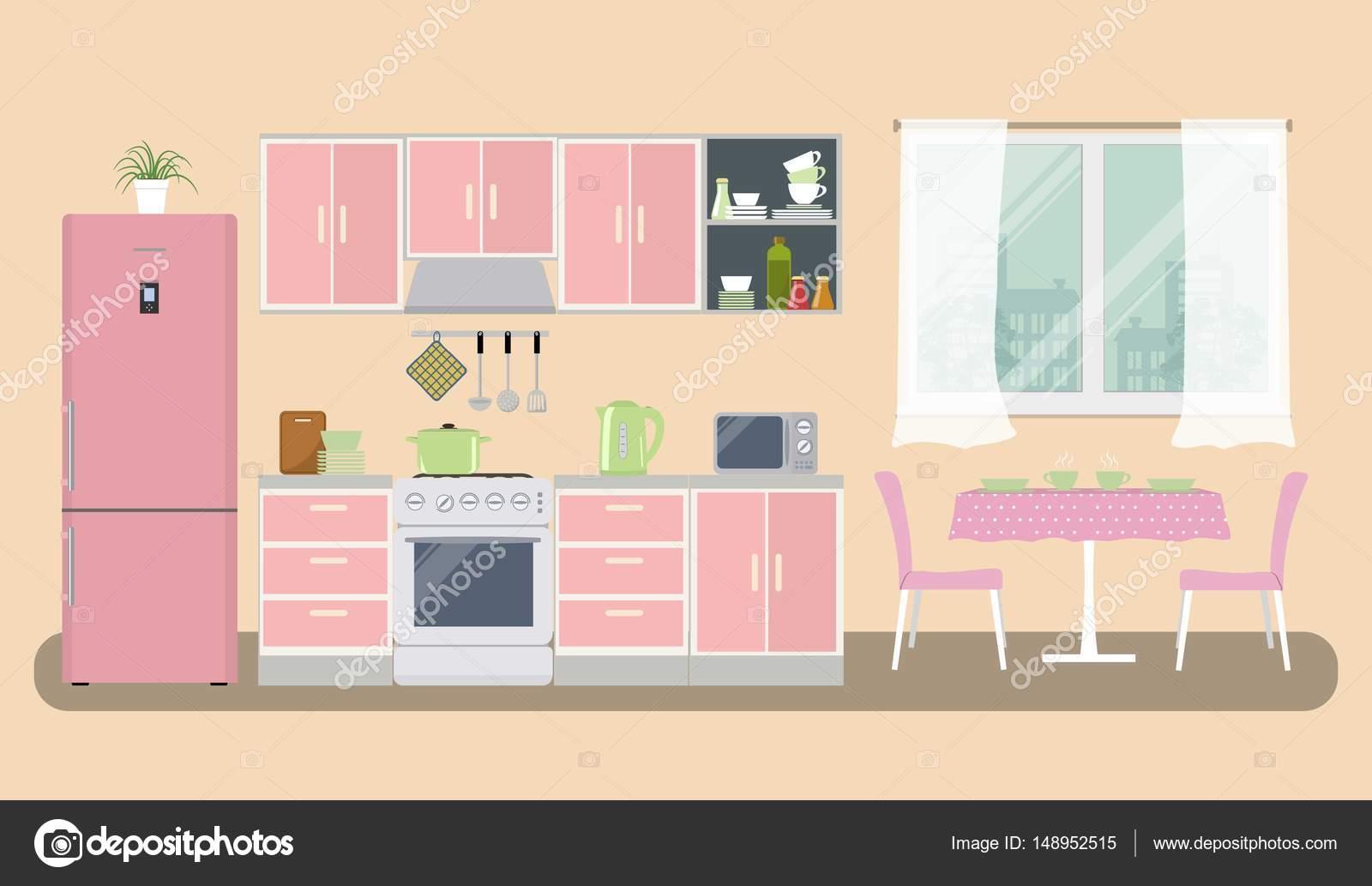 Kühlschrank Rosa : Küche in eine rosa farbe es ist ein möbel einen herd einen