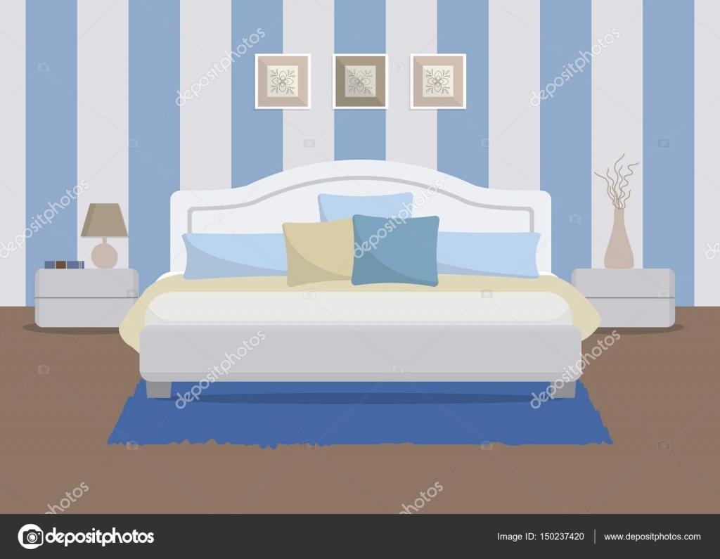 Schlafzimmer in eine blaue Farbe. Es ist ein Bett mit Kissen ...