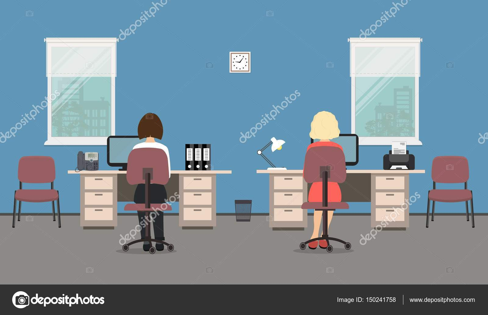 Two Women Are Employees At Work They Sitting Desks There Tables And Chairs On A Windows Background In The Picture