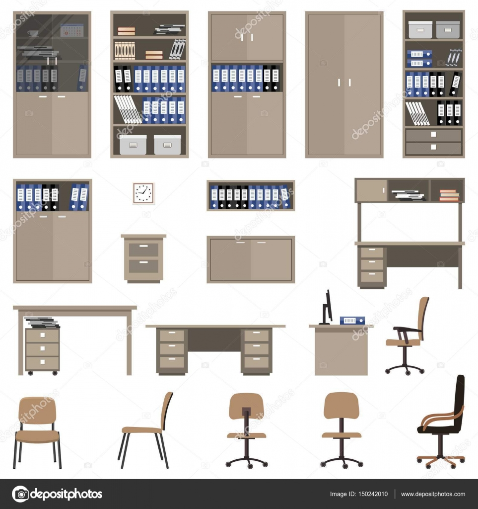Conjunto de muebles de oficina hay archivadores estantes for Conjunto muebles oficina