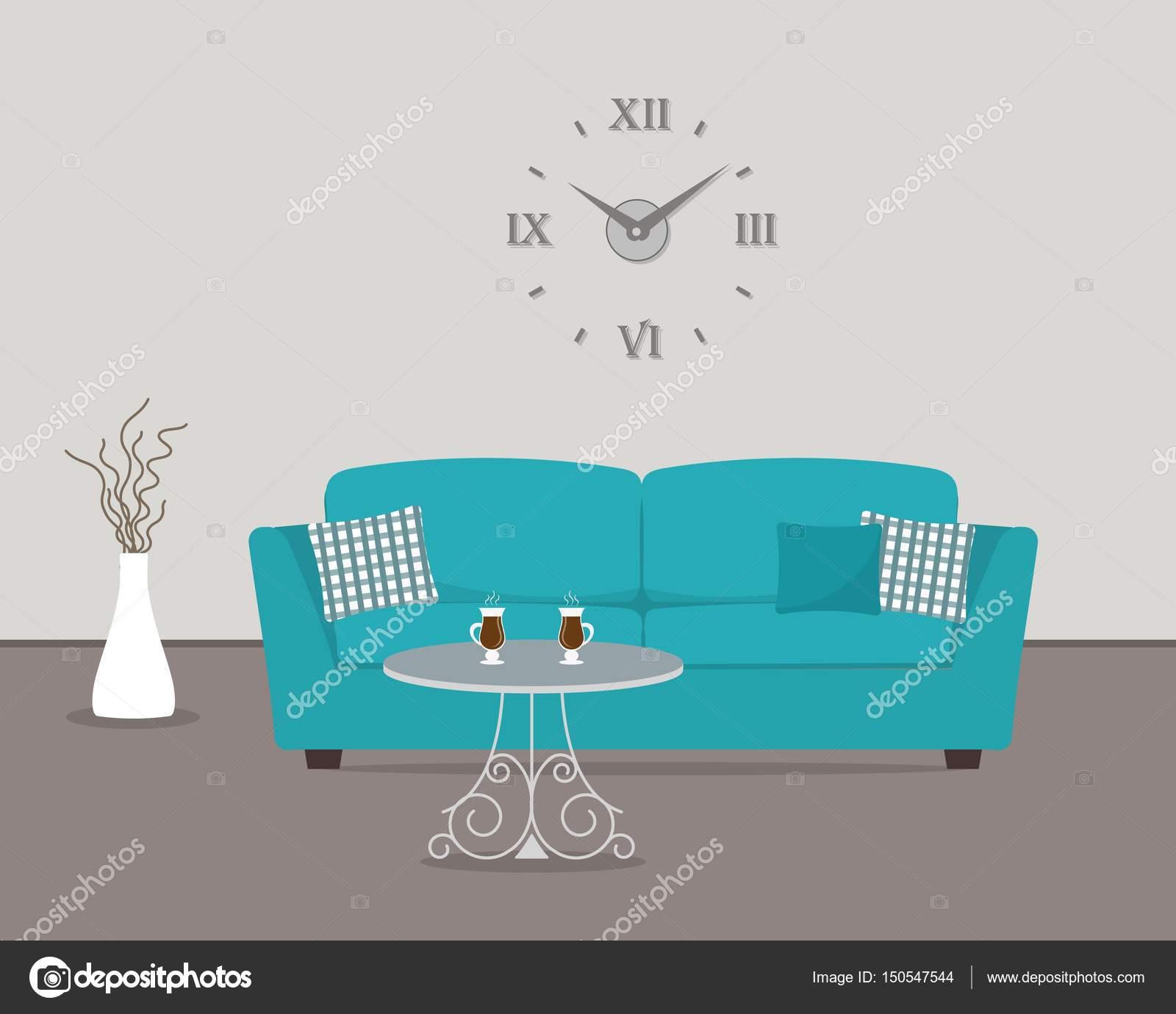 Wohnzimmer mit türkisfarbenen Sofa und große runde Uhr an der Wand ...