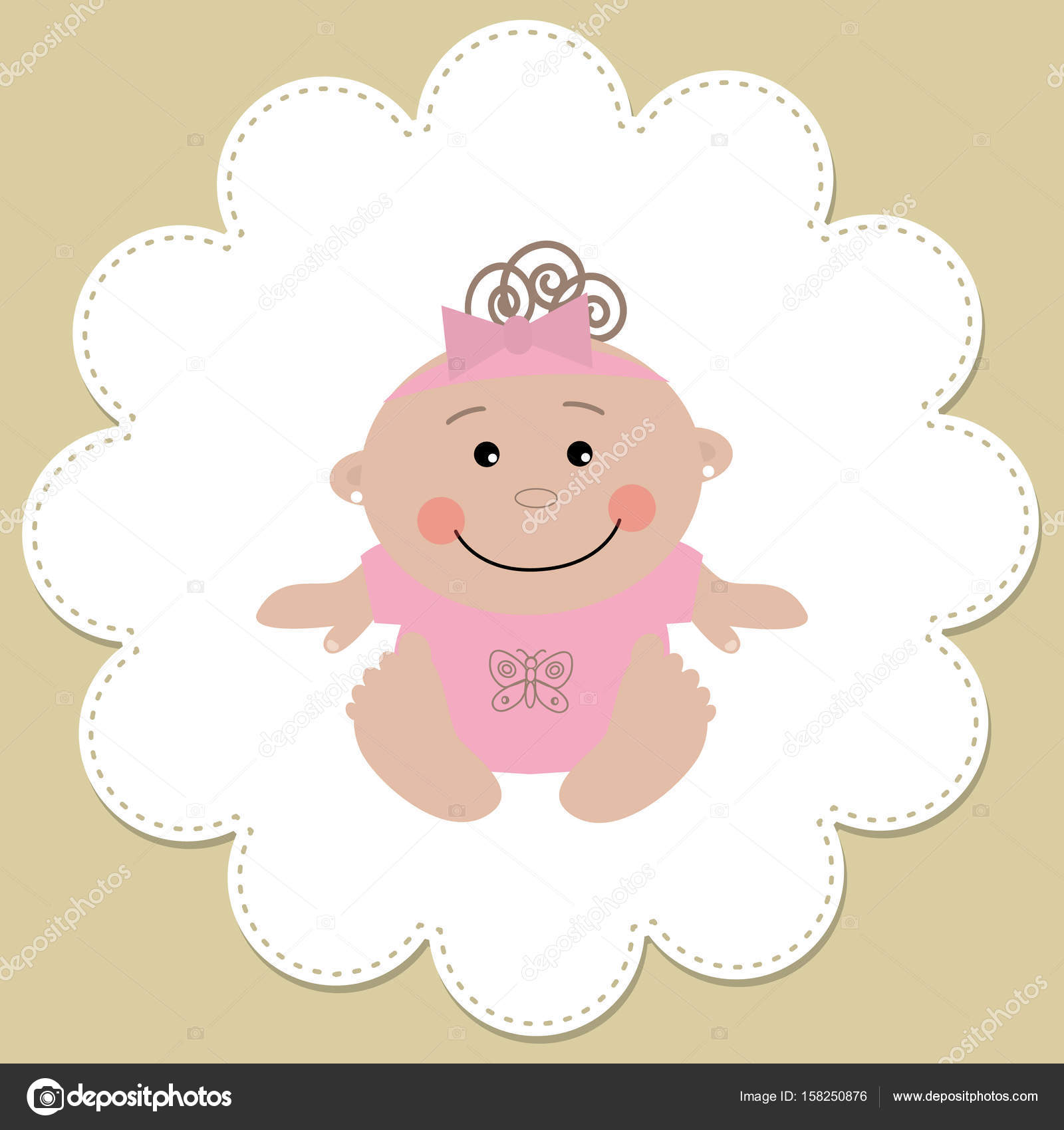 Baby girl in a round frame on a beige background — Stock Vector ...