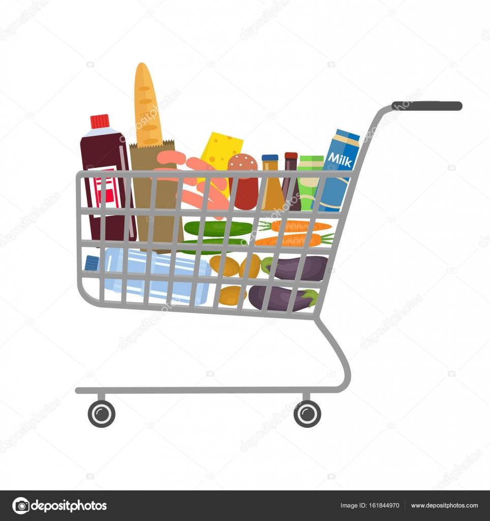 Carrito de la compra en un supermercado lleno de alimentos - Carrito dela compra ...