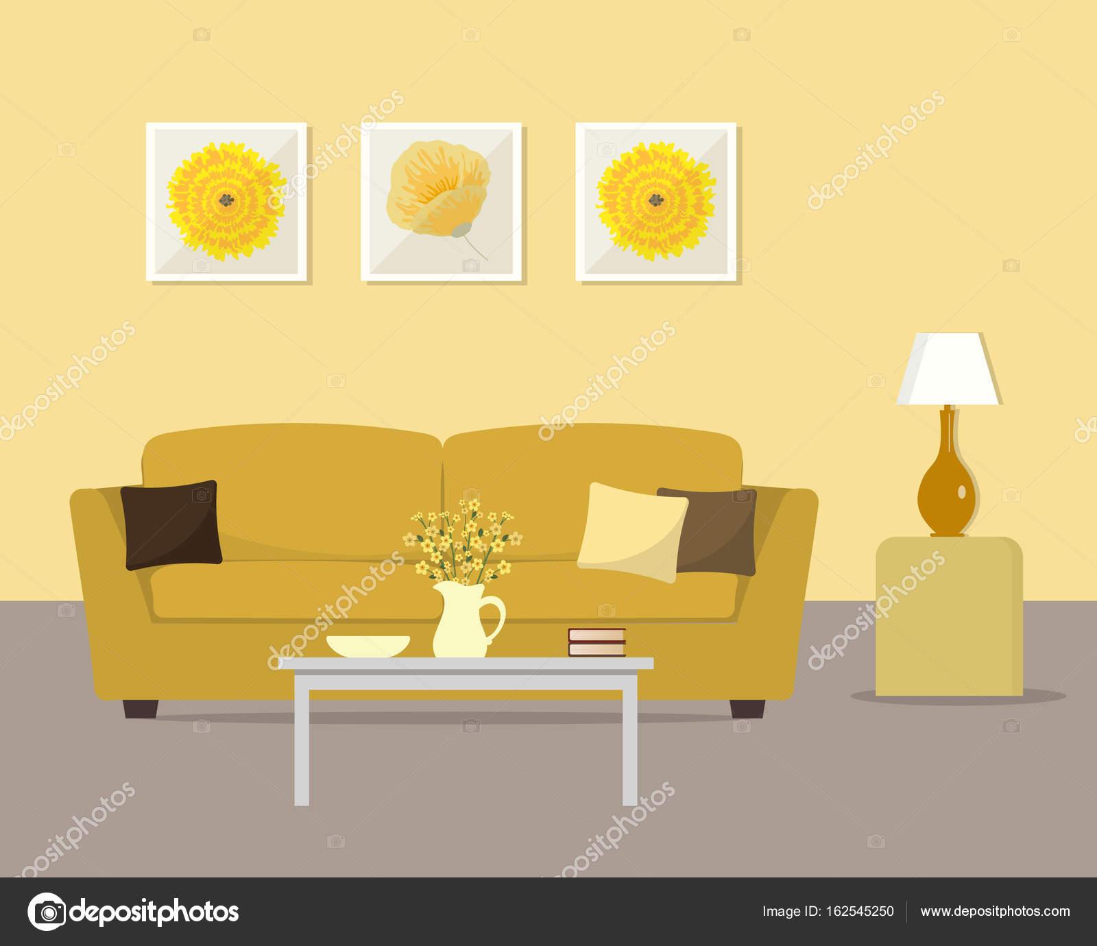 Sala De Estar Em Um Amarelo Cores Vetores De Stock Irynaalex  -> Cor De Parede Para Sala Amarelo