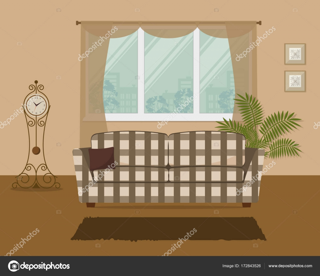 Living Room In A Beige Color With A Checkered Sofa U2014 Stock Vector