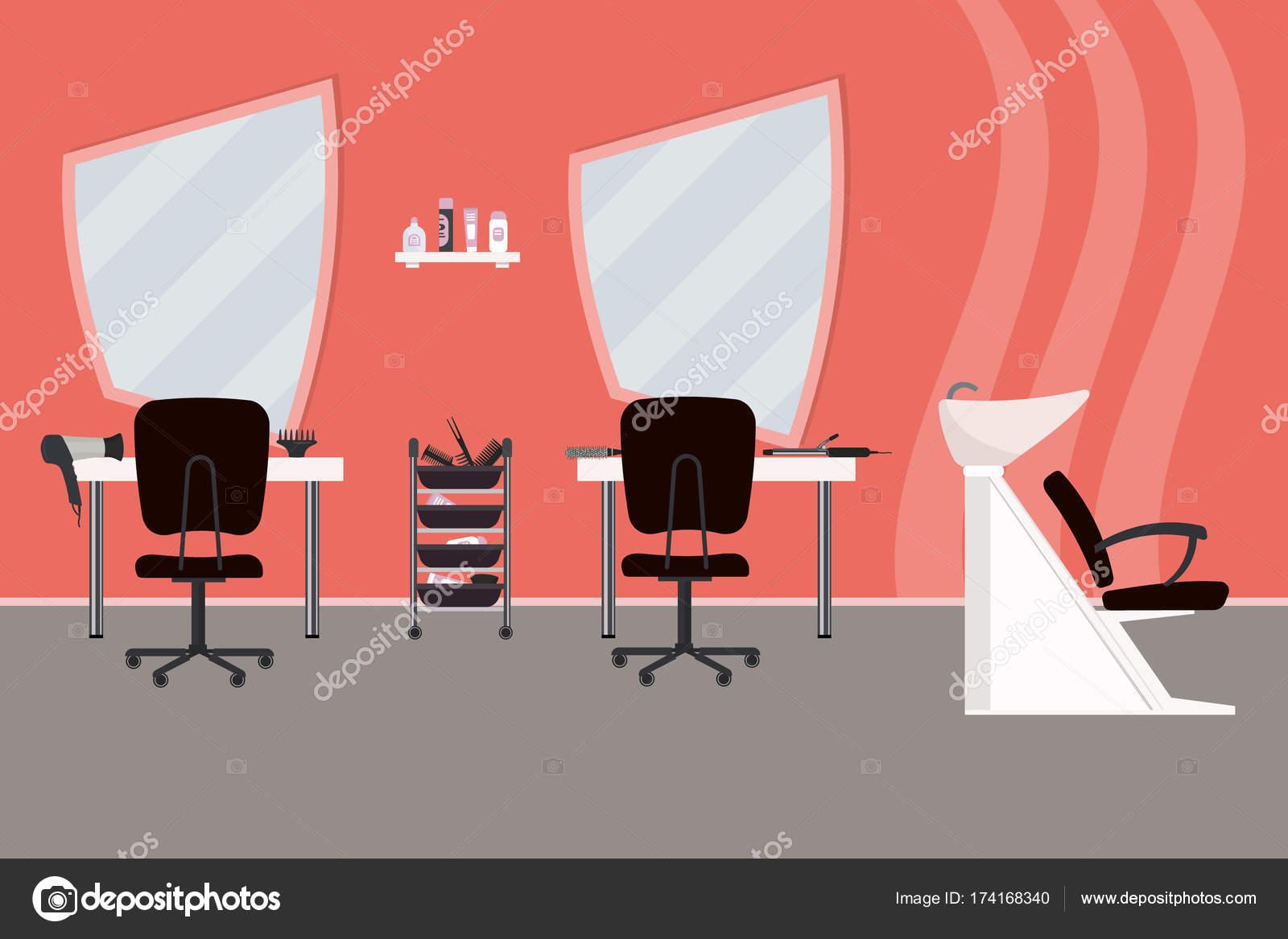Intérieur d\'un salon de coiffure dans une couleur rose. Salon de ...