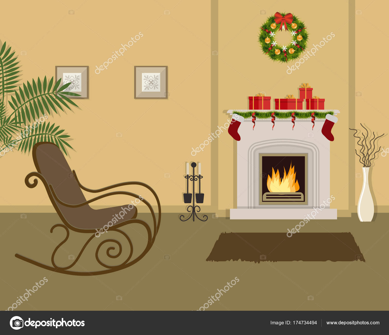 Beige living room with fireplace, decorated with Christmas ...
