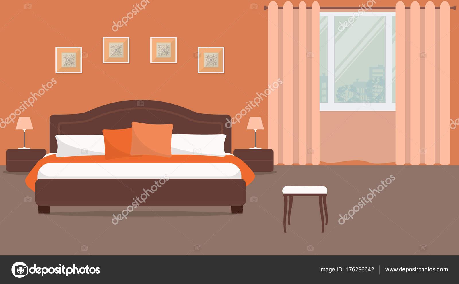 Slaapkamer Oranje Kleur Een Bed Met Kussens Nachtkastjes Lampen ...
