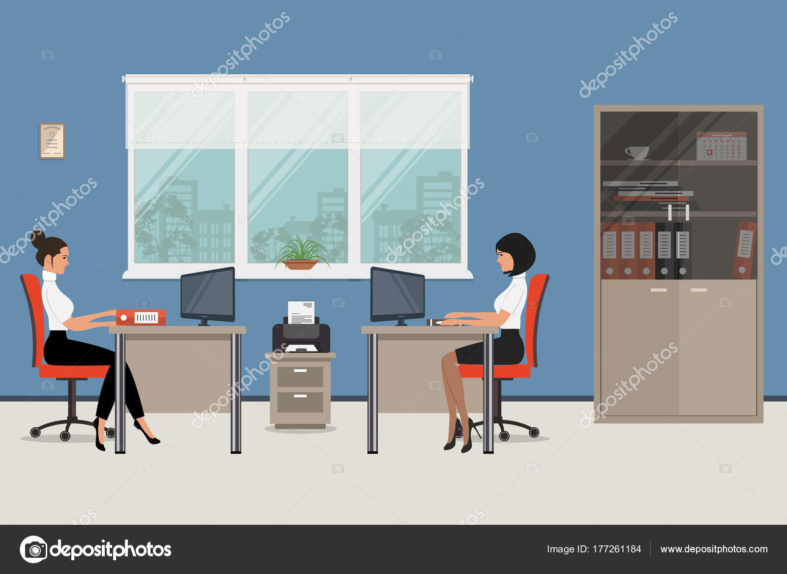 The Young Women Are An Employees At Work There Brown Desks And Red Chairs On A Windows Background In Picture Is Also Cabinet For