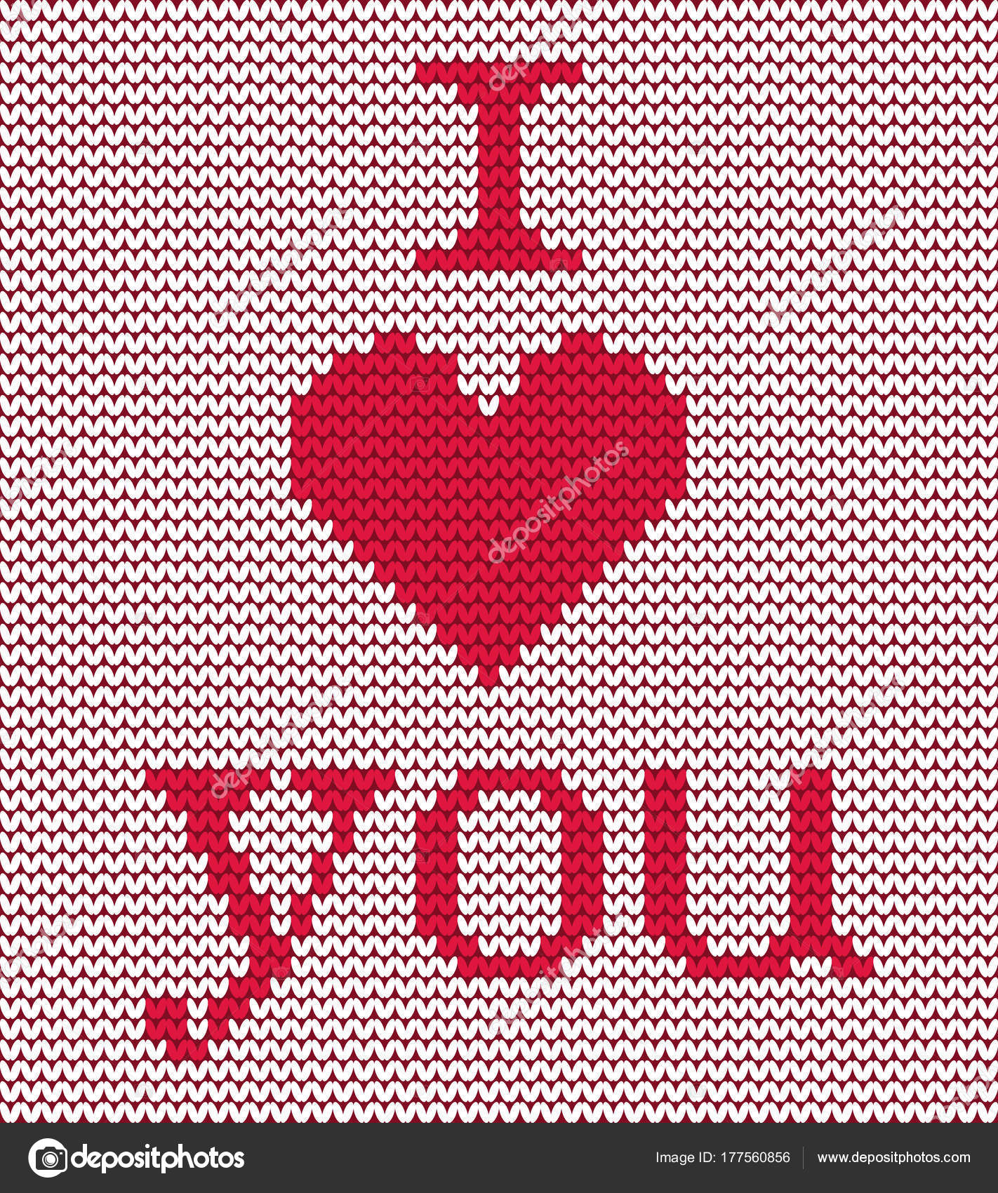 Knitted Pattern Red Heart Text Love You White Background Can — Stock ...