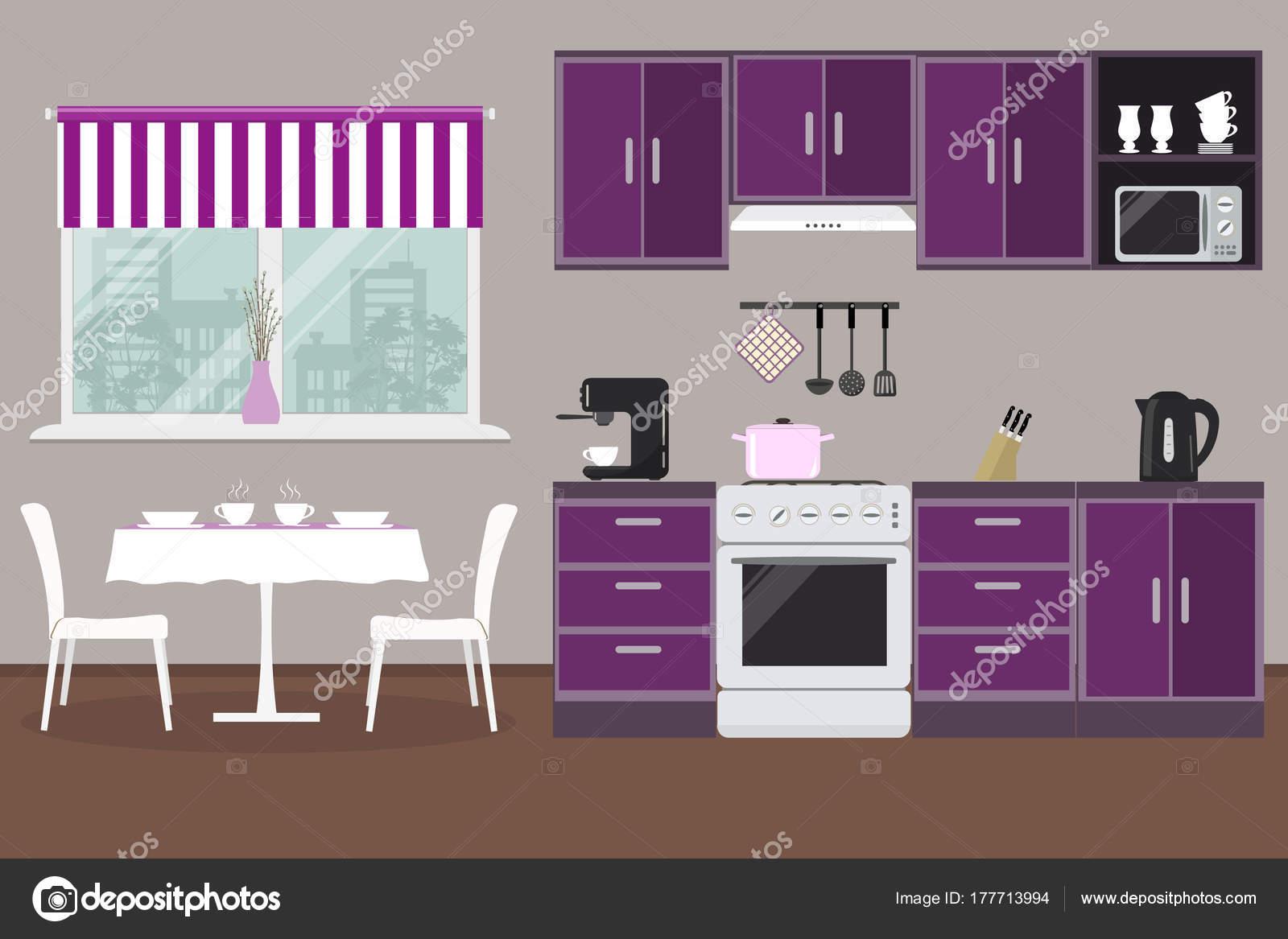 Küche Eine Violette Farbe Gibt Küchenschränke Einen Ofen Eine ...