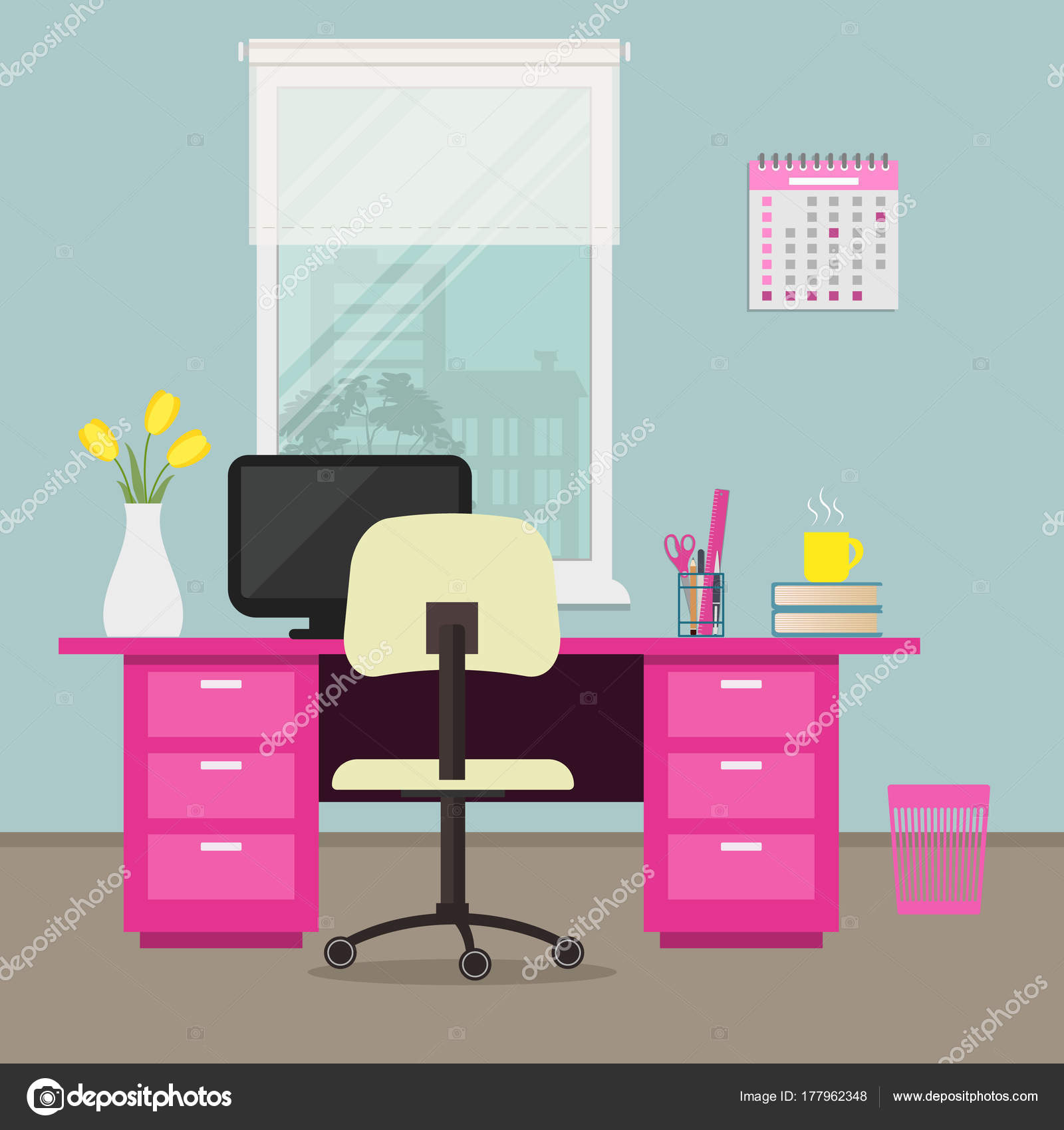Office In A Pink Color Workplace Home There Is Desk Chair Computer Calendar Vase With Tulips And Other Objects On Window