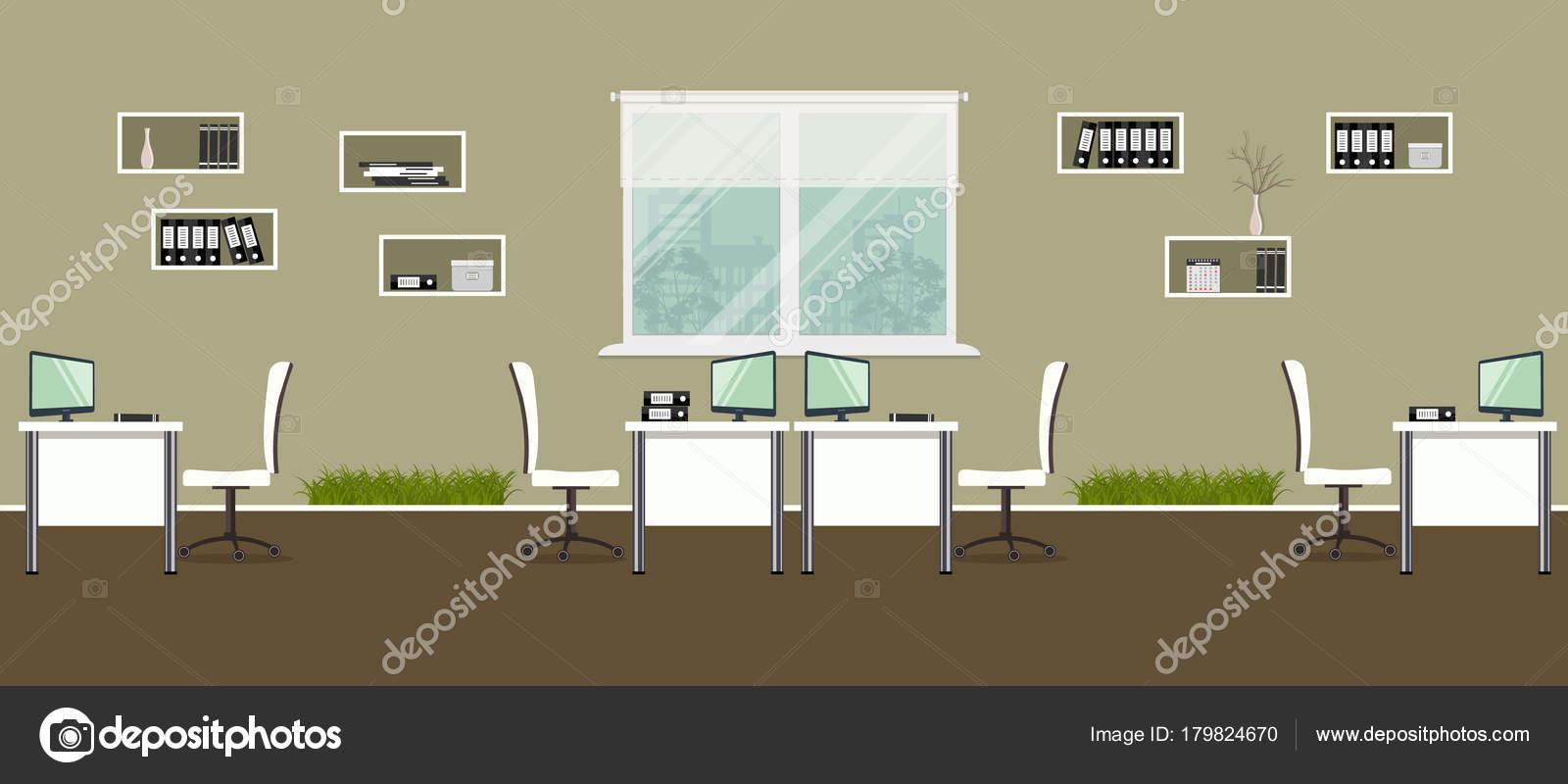 office decorative. Modern Office White Furniture Decorative Grass Desks Chairs Shelves Documents \u2014 Stock Vector