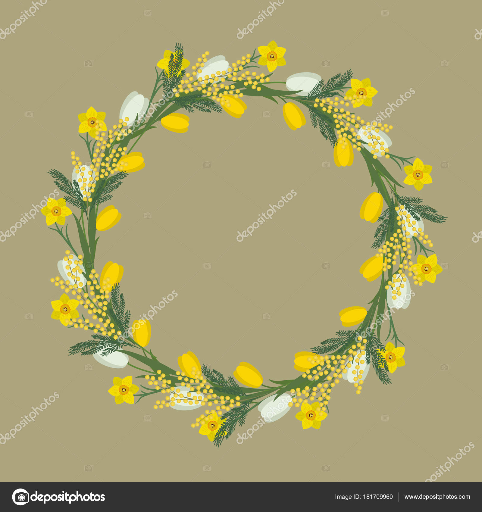 Floral Frame Spring Flowers Yellow White Flowers Tulips Daffodils