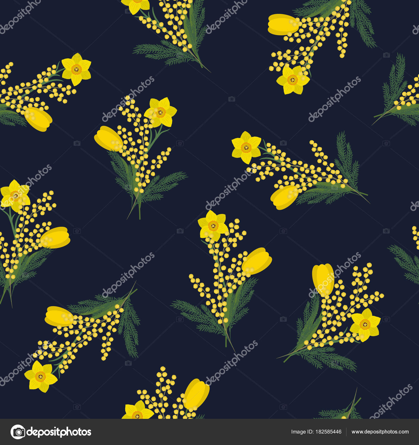 Seamless Pattern Yellow Flowers Green Leaves Dark Blue Background