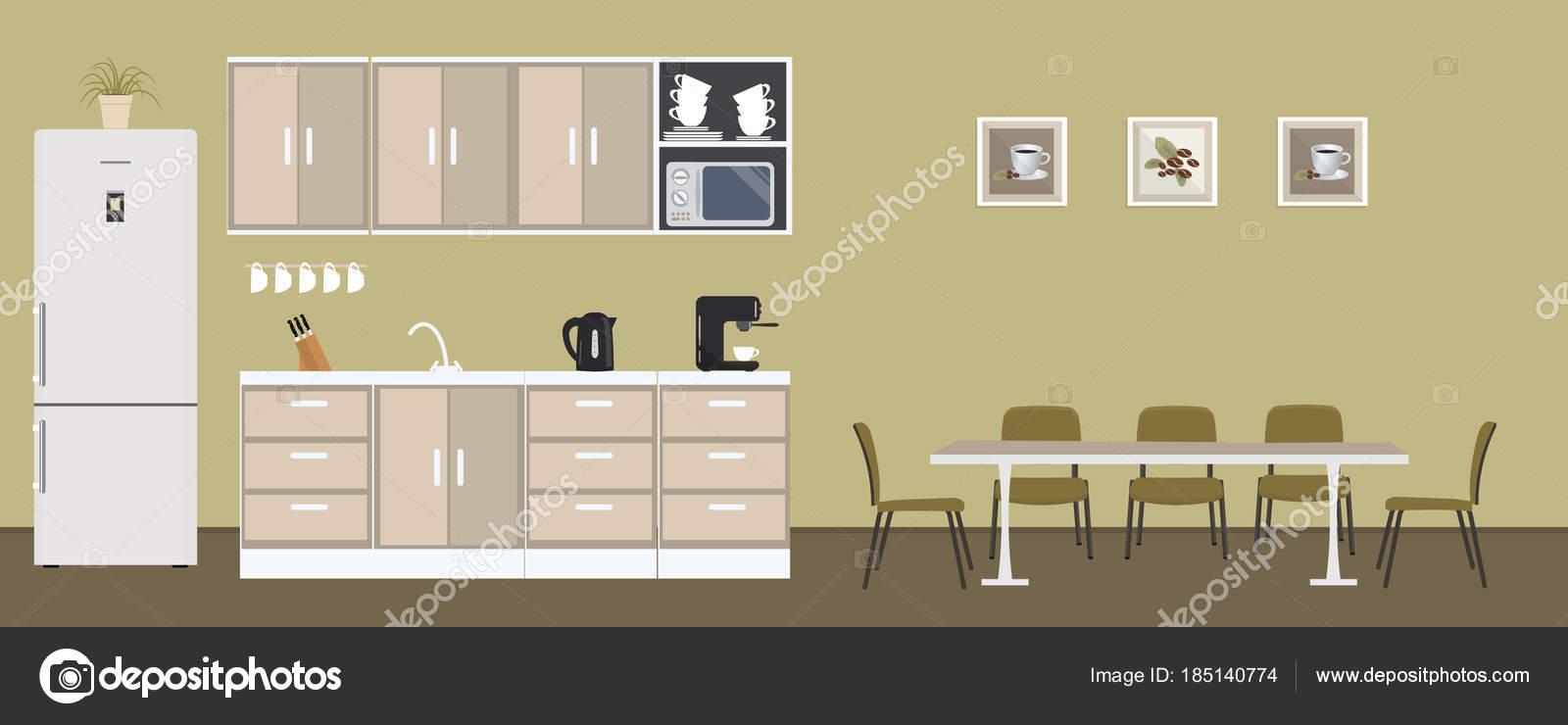 Büro Küche Grüner Farbe Esszimmer Büro Gibt Einen Kühlschrank Einen ...