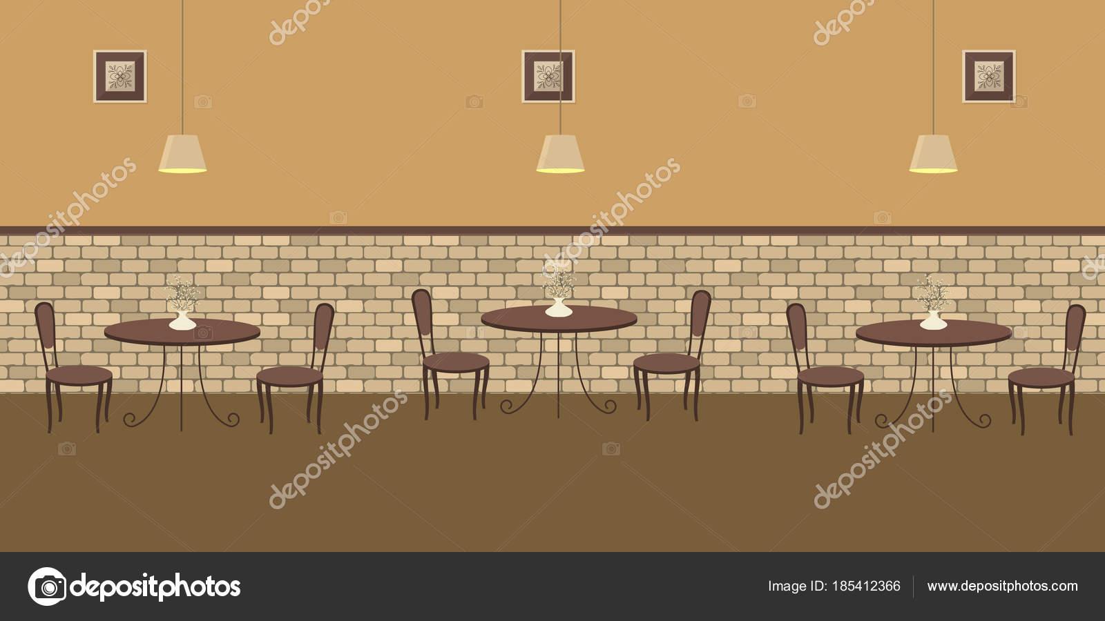interieur van een caf met bruin meubilair op een bakstenen muur achtergrond er zijn drie tafels en stoelen in de afbeelding