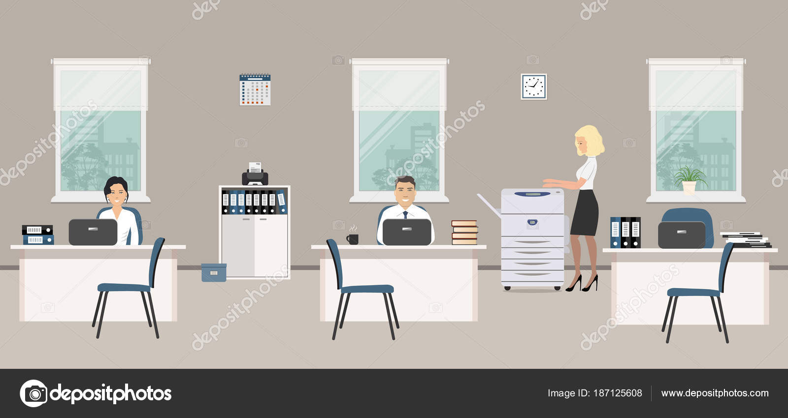 Office Room Gray Color Young Women Man Emploees Work White — Stock ...
