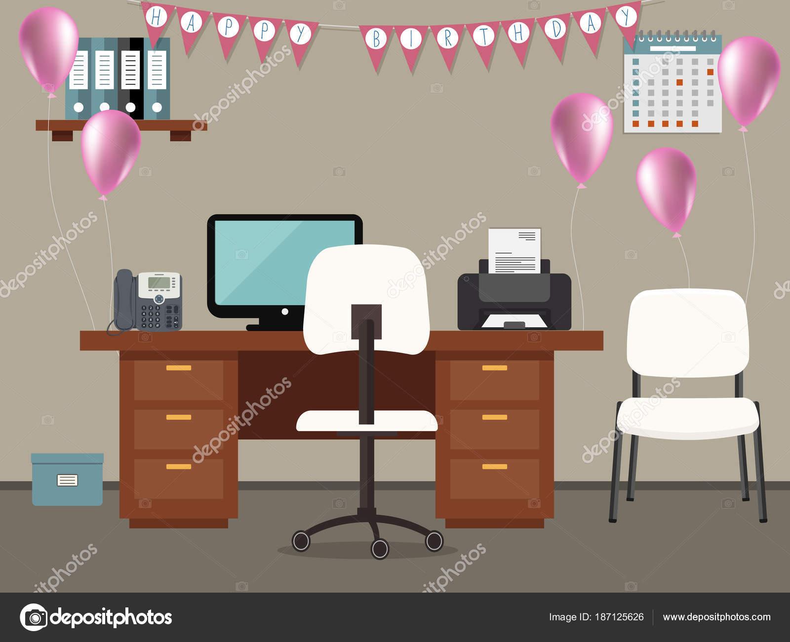 Feliz cumplea os en la oficina lugar trabajo trabajador for Decoracion de escritorios