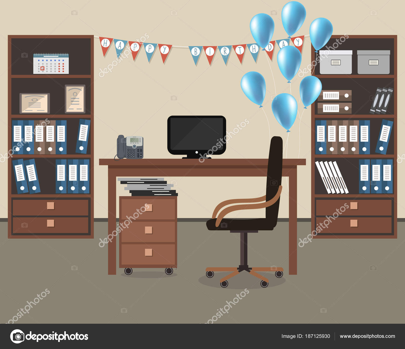 Decoracion de oficina feliz cumplea os lugar trabajo for Decoracion de escritorios