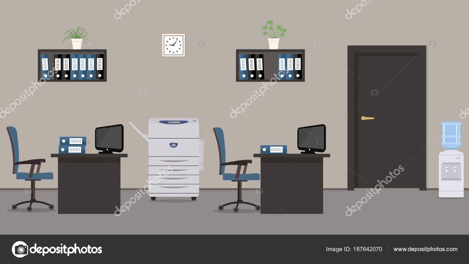 Scrivania Ufficio Grigio : Stanza dell ufficio colore grigio sono una scrivania nera sedie