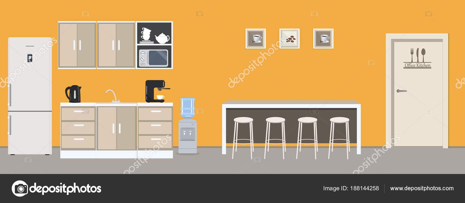 Büro Küche Gelber Farbe Esszimmer Büro Gibt Einen Kühlschrank Einen ...