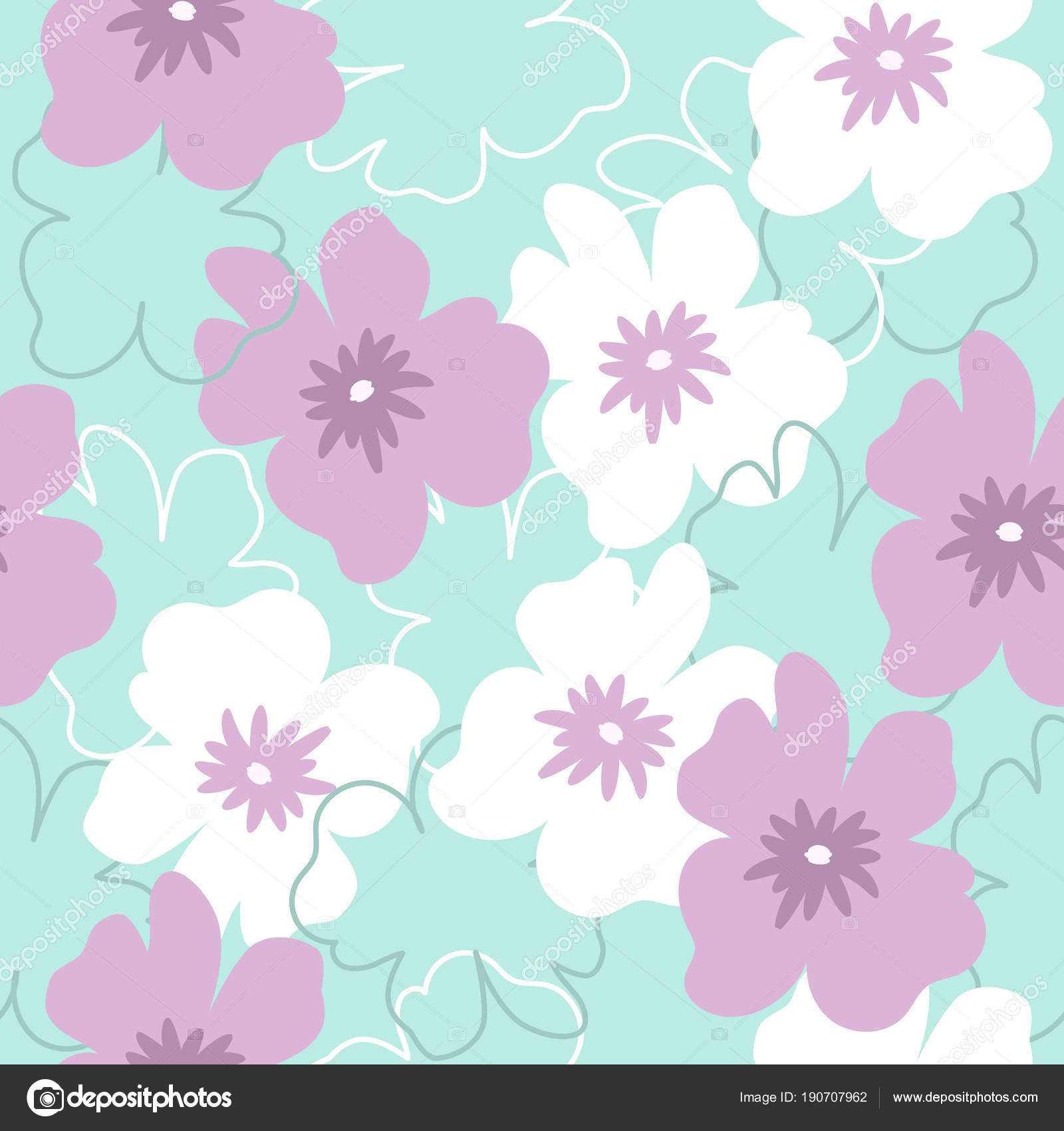 Seamless pattern white purple flowers turquoise background can used seamless pattern white purple flowers turquoise background can used packing stock vector mightylinksfo