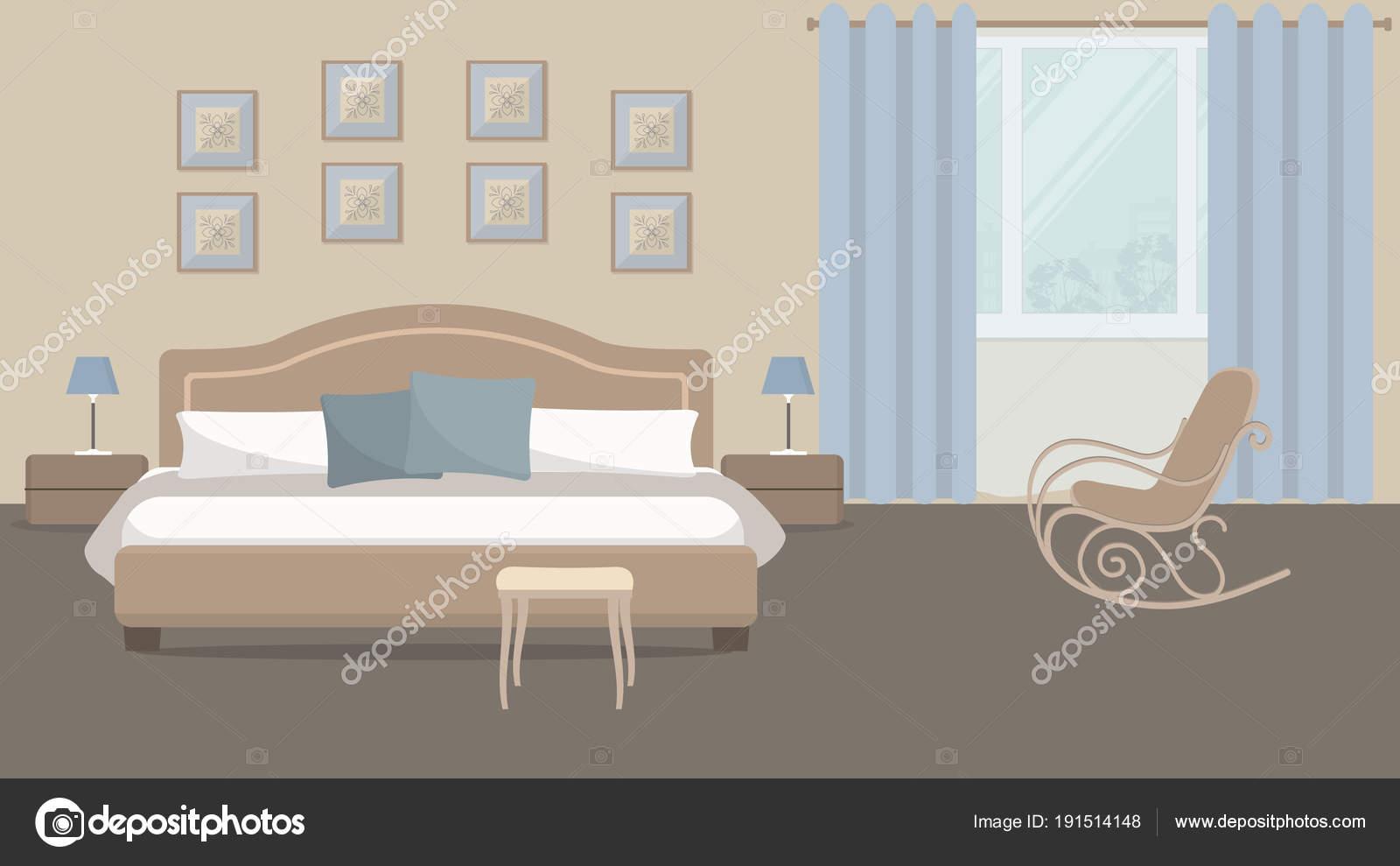 Schlafzimmer Eine Beige Farbe Ist Ein Bett Mit Blauen Kissen U2014 Stockvektor