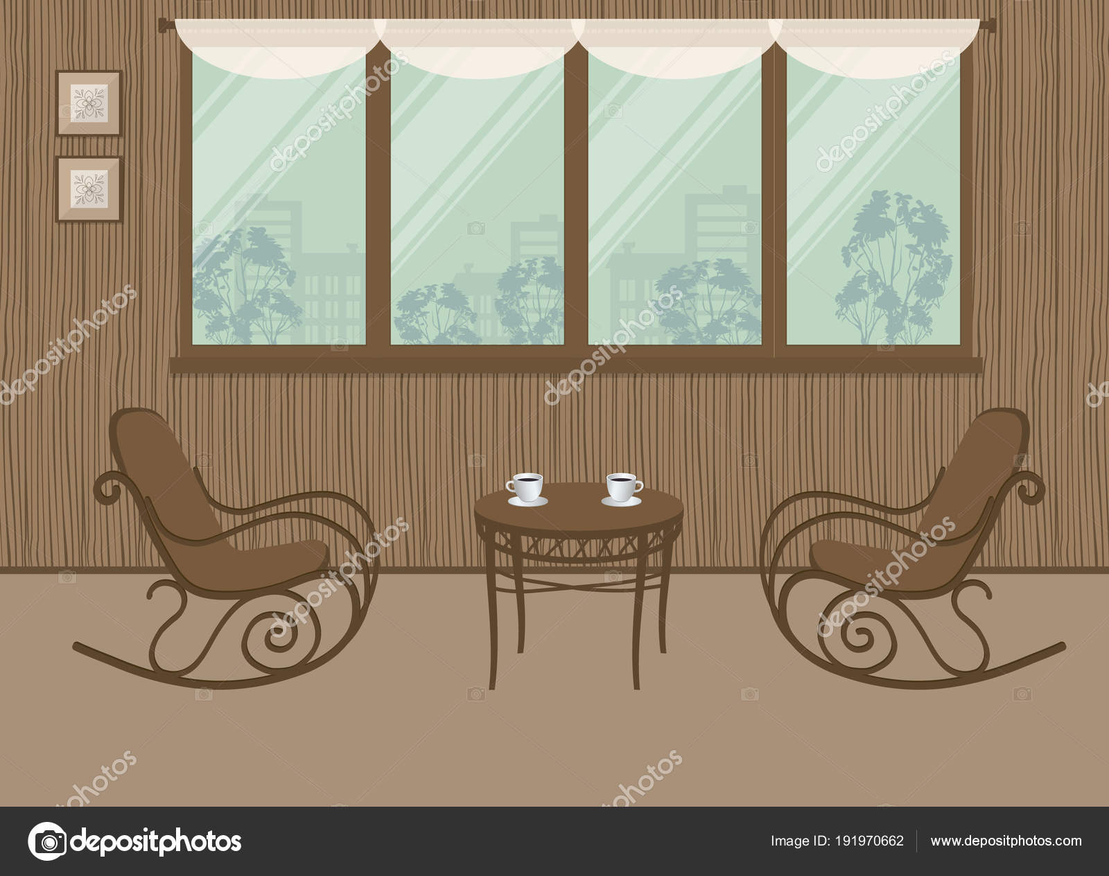 Two Rocking Chairs Coffee Table Window Background Interior Balcony Loggia u2014 Stock Vector & Two Rocking Chairs Coffee Table Window Background Interior Balcony ...
