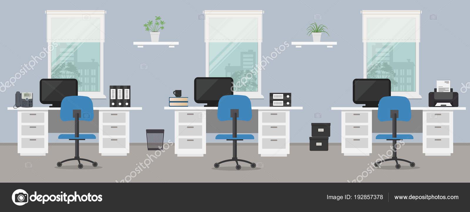 Büroraum Eine Blaue Farbe Arbeitsplatz Von Büroangestellten Mit Weißen  Möbeln U2014 Stockvektor