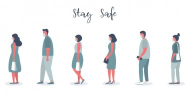People in medical masks stand in line. Men and women keep their distance to stay safe. Vector illustration in flat style stock vector