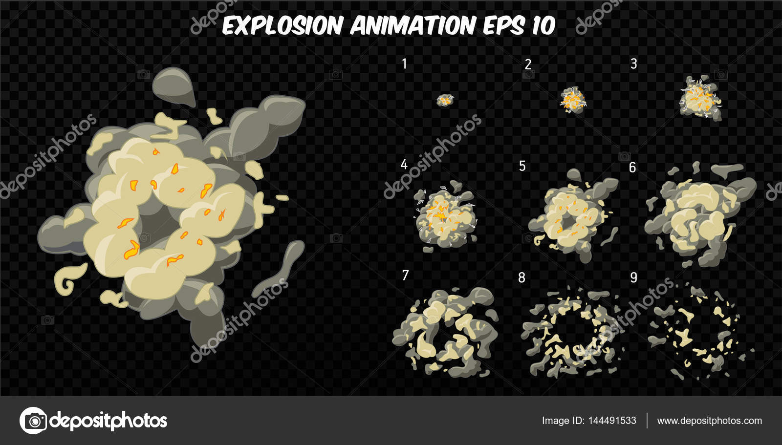 Vector explode  Explode effect animation with smoke  Cartoon