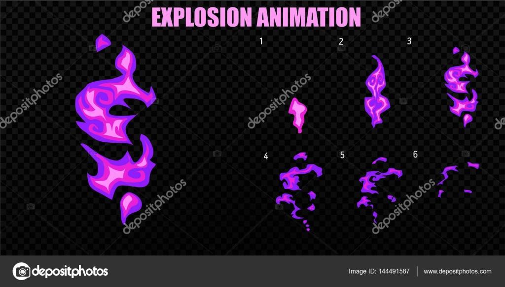 Vector de explotar. Explotar la animación de efecto de humo. Marcos ...