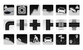 MonoChrome vektorových sada silniční ikony. Různé nebezpečí a problémy na cestě a další položky, silniční.