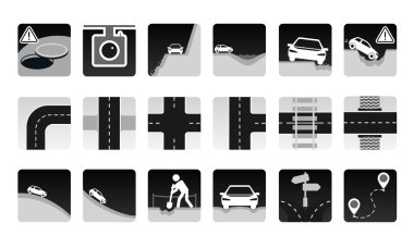 Monochrome vector set of road icon. Different dangers and troubles on the way and other road items.