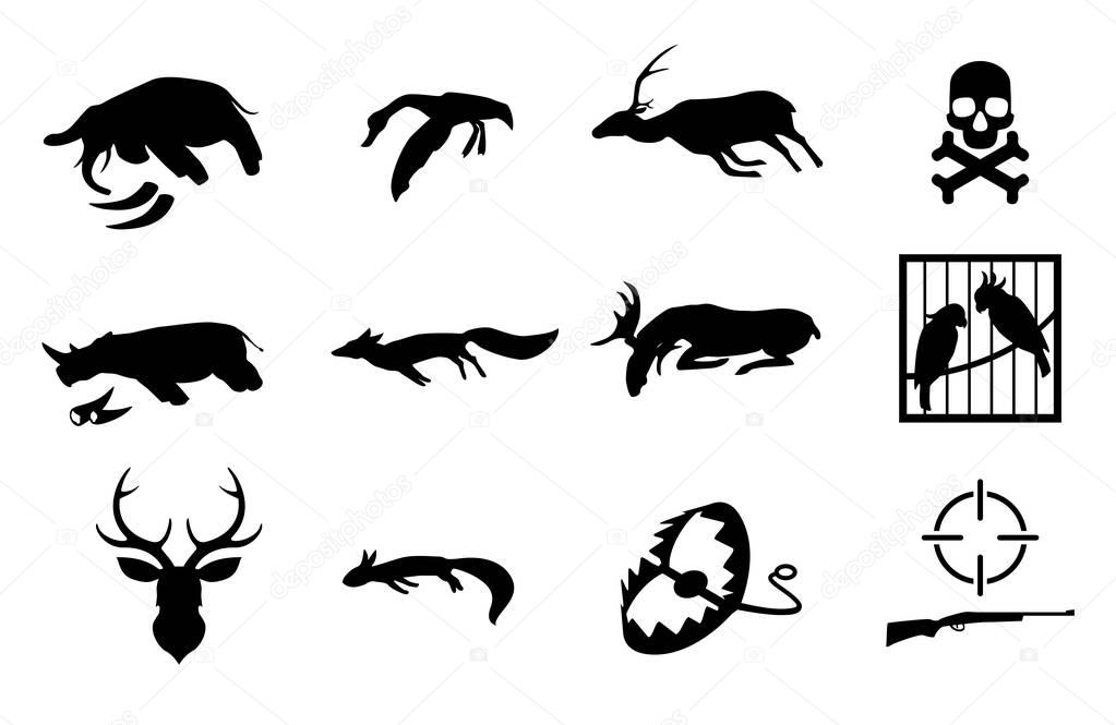 Vector set of poaching and illegal animal hunting and catching icons. Social problem of danger for safety of wildlife.